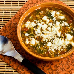 Slow Cooker Vegetarian Greek Lentil Soup with Tomatoes, Spinach, and Feta.  [found on KalynsKitchen.com]