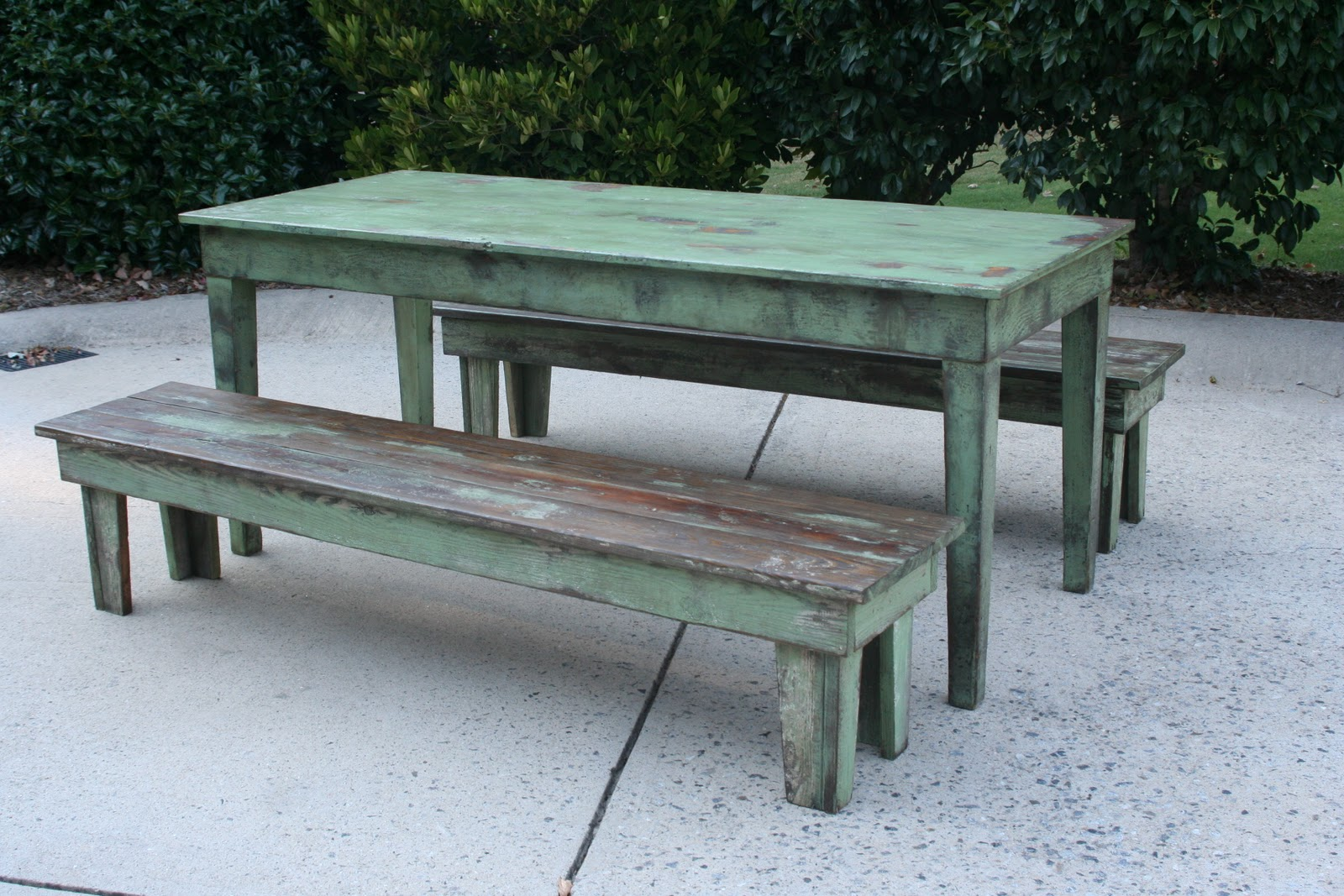 Weathered Pieces Farmhouse Table & Benches