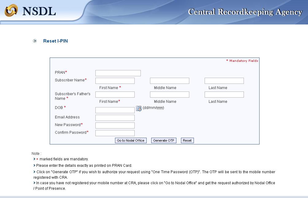 CPS/PRAN I PIN/PASSWORD RESET PROCESS