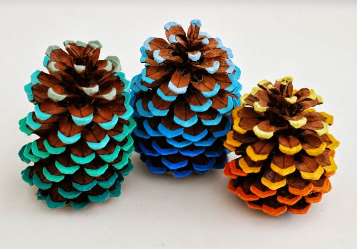 Ombre Painted pinecones