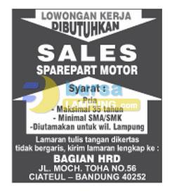Lowongan Sales Sparepart Motor