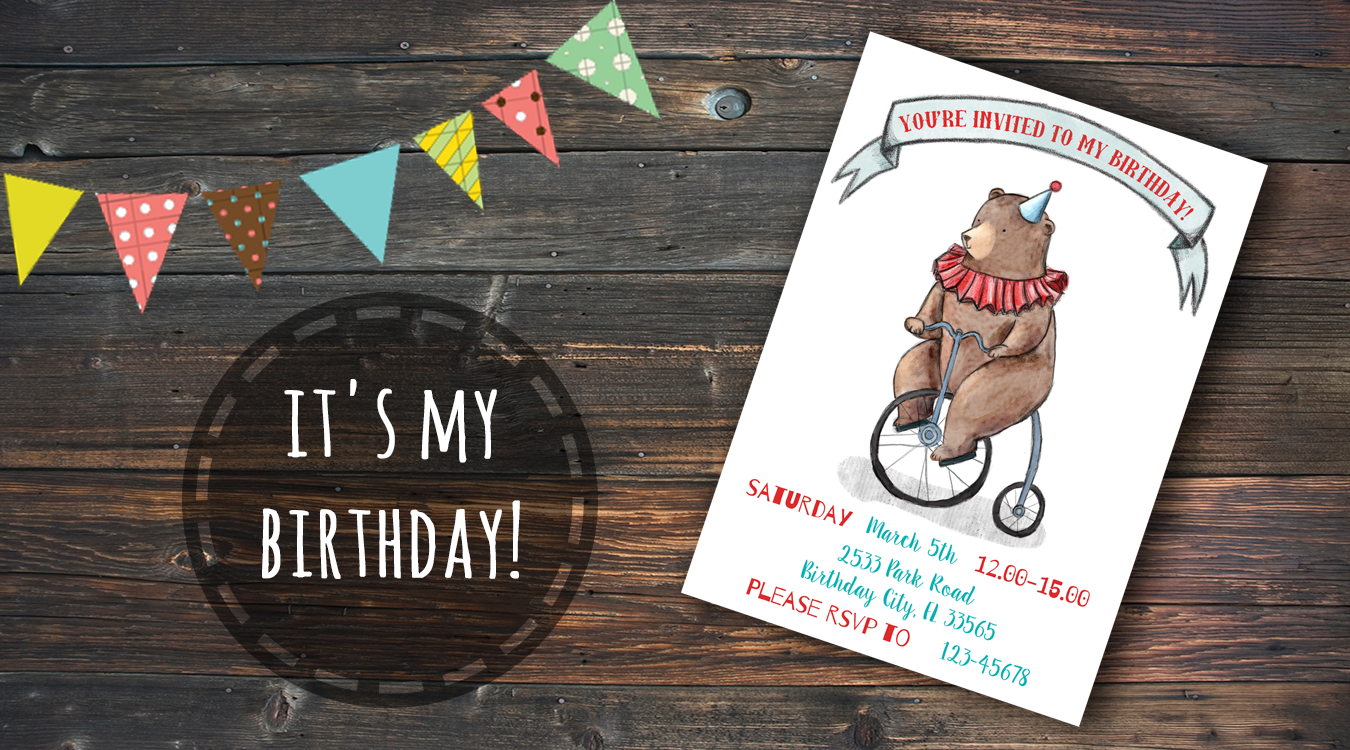 circus themed birthday party invitation printable