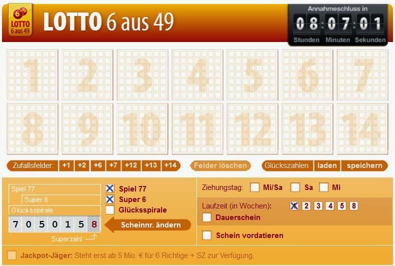 Bild eines Lottospielschein Lotto 6 aus 49