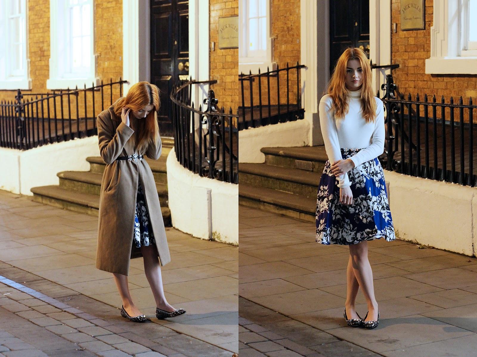 floral midi skirt kim kardashian coat