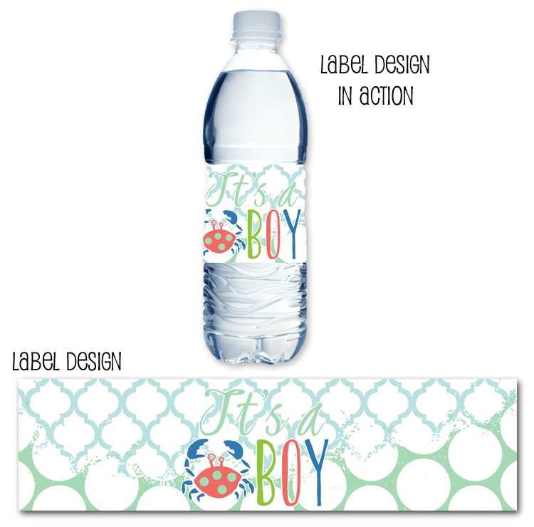 http://www.partyboxdesign.com/item_1588/Polka-Dot-Crabby-Baby-Boy-Water-Bottle-Label.htm
