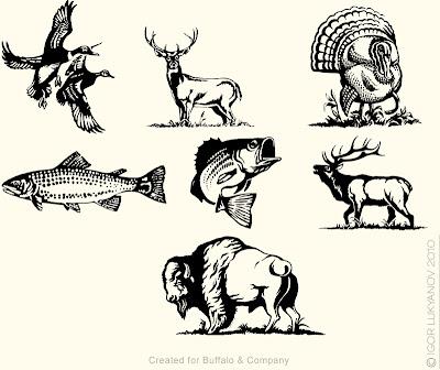 pochoirs de la faune Nord Américaine