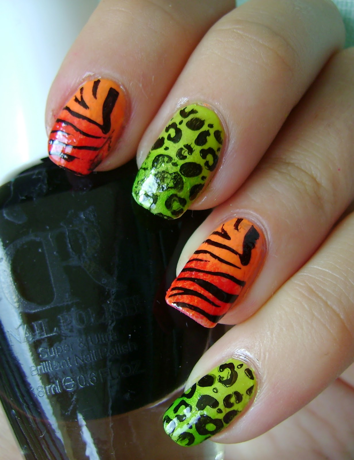 acrylic nail art designs: Wild animal print manicure