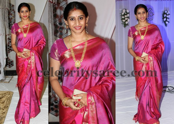 TV Actress Pink Shimmer Saree