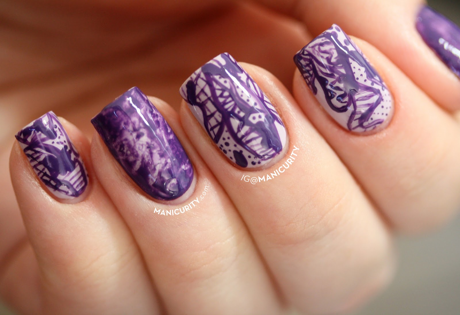 Manicurity.com | Digit-al Dozen: Freehand Purple Urban Camo Nails - monochrome purple freehand abstract linear pattern nail art with saran wrap accents