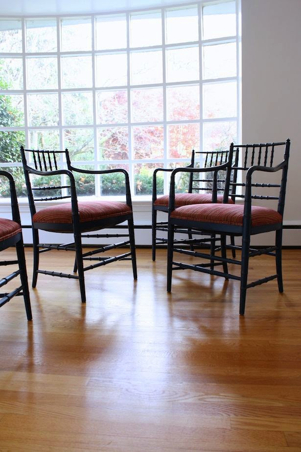 Vintage blue bamboo arm chairs via Meet Me in Philadelphia