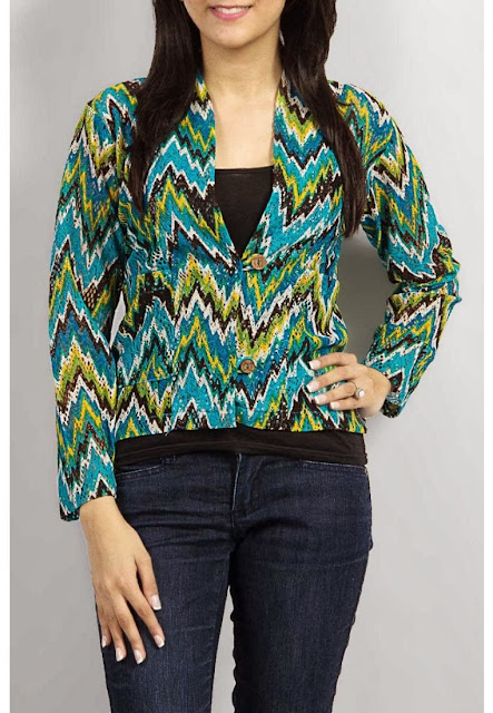 Multicolor Net Blouse Long Sleeve With Blue Jeans