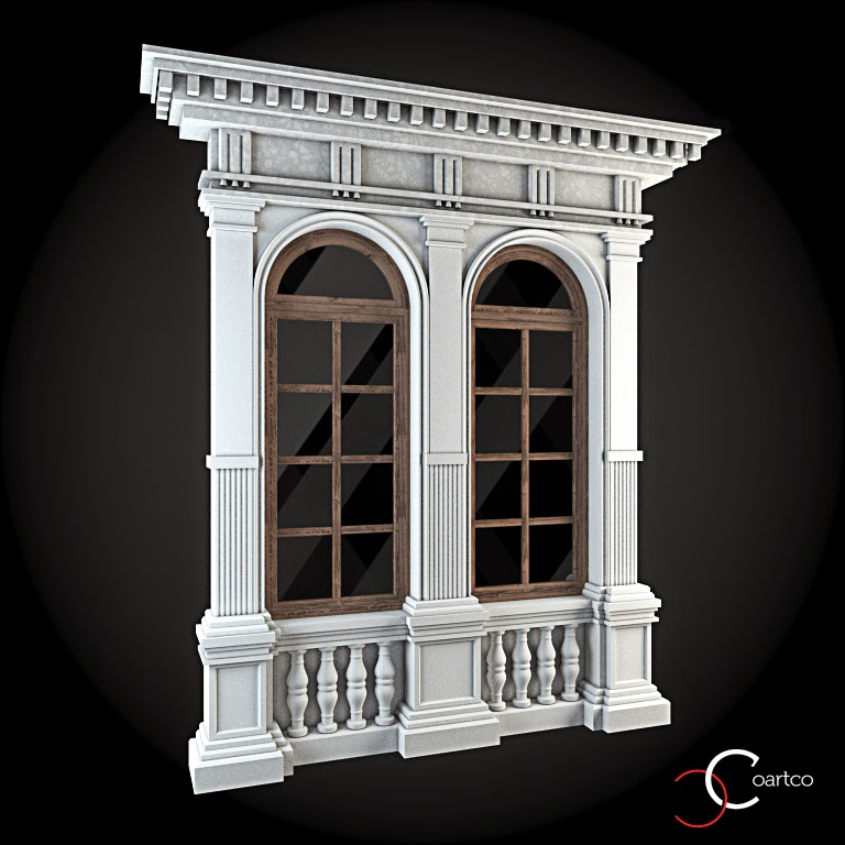 Ornamente Geamuri Exterior, Arcada fatade case cu profile decorative polistiren, profile fatada,  Model Cod: WIN-052