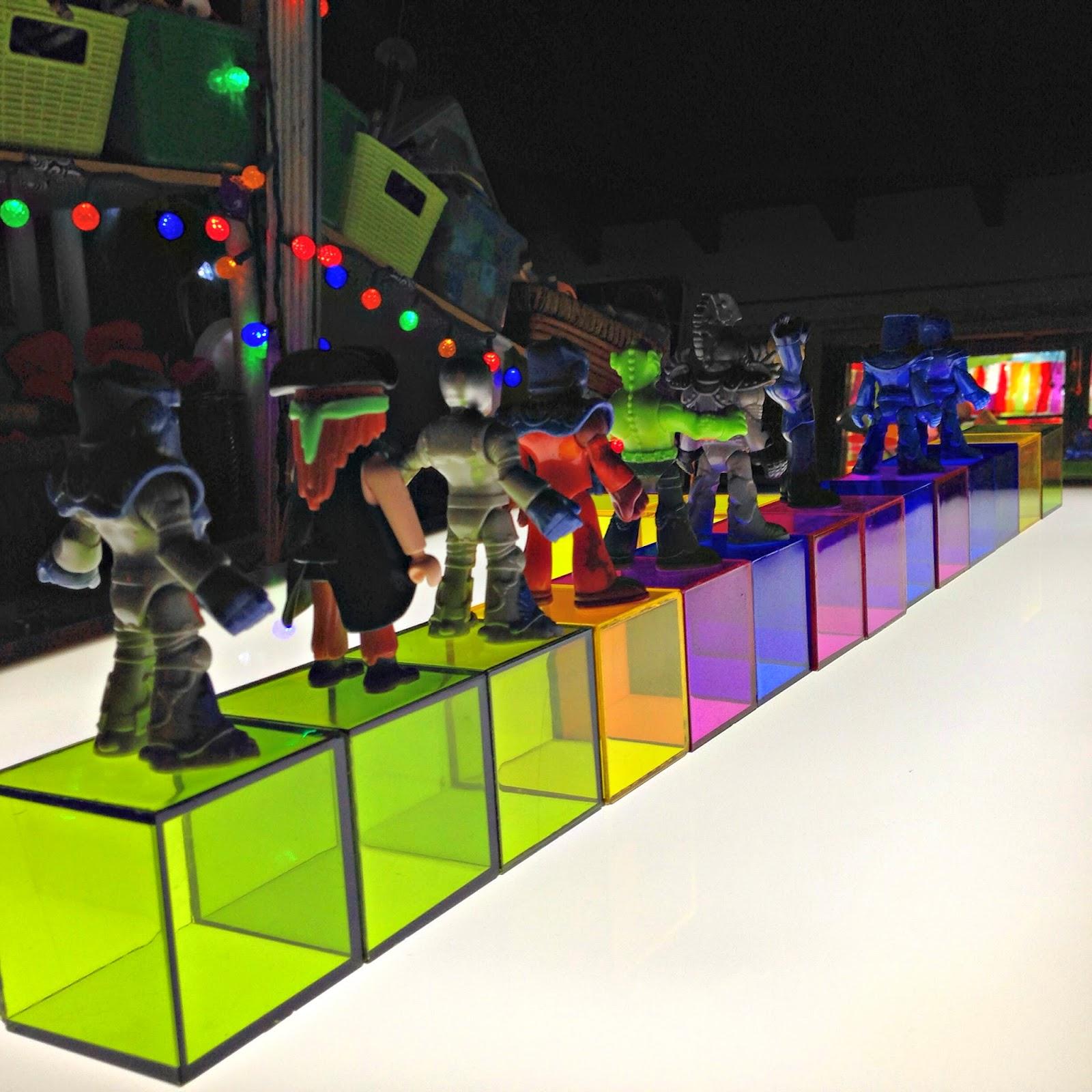 blocks on a light table