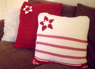 red and white christmas throw pillows from sweaters