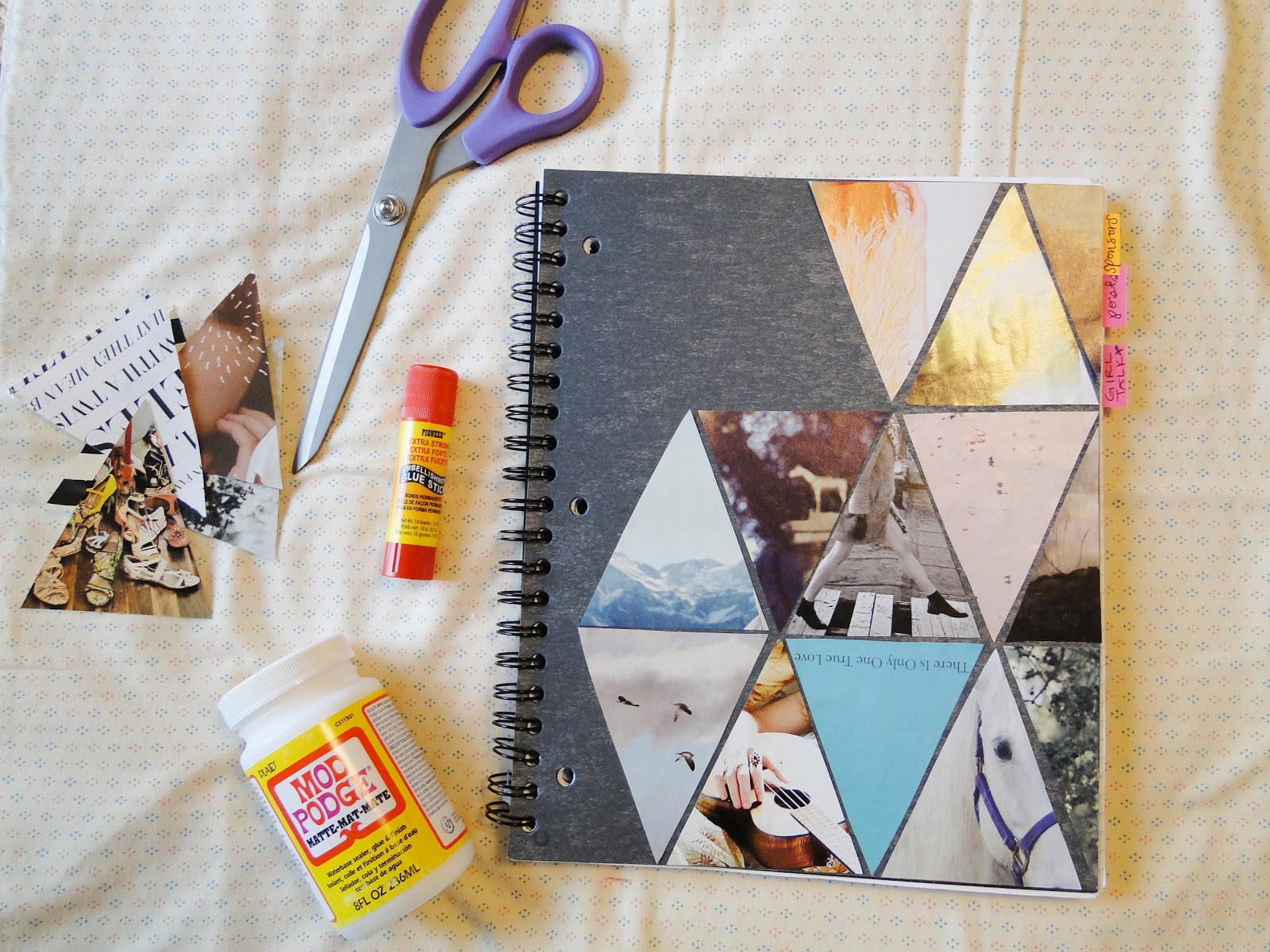 School Notebook Cover Design : Pie n the sky triangle love diy