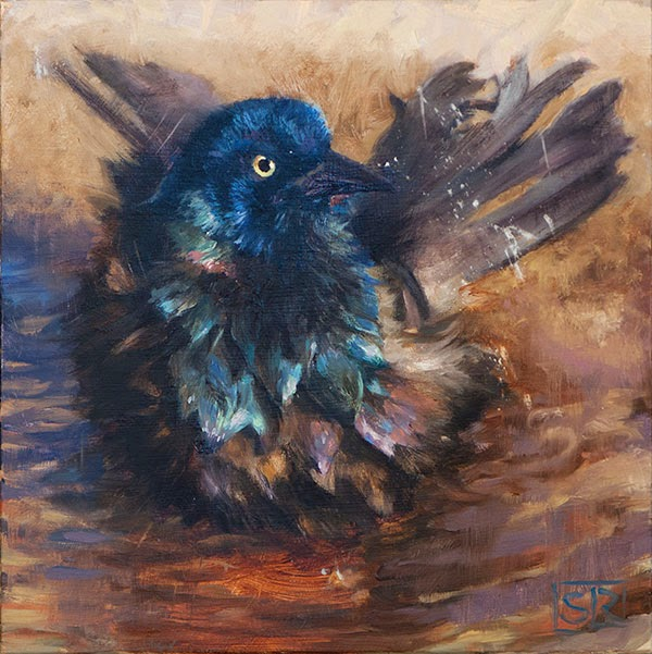 Common grackle oil painting bird bath Shannon Reynolds