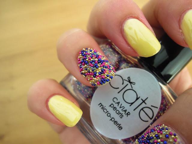 caviar ciate pearls colour rainbow blue pink yellow beads nail polish art