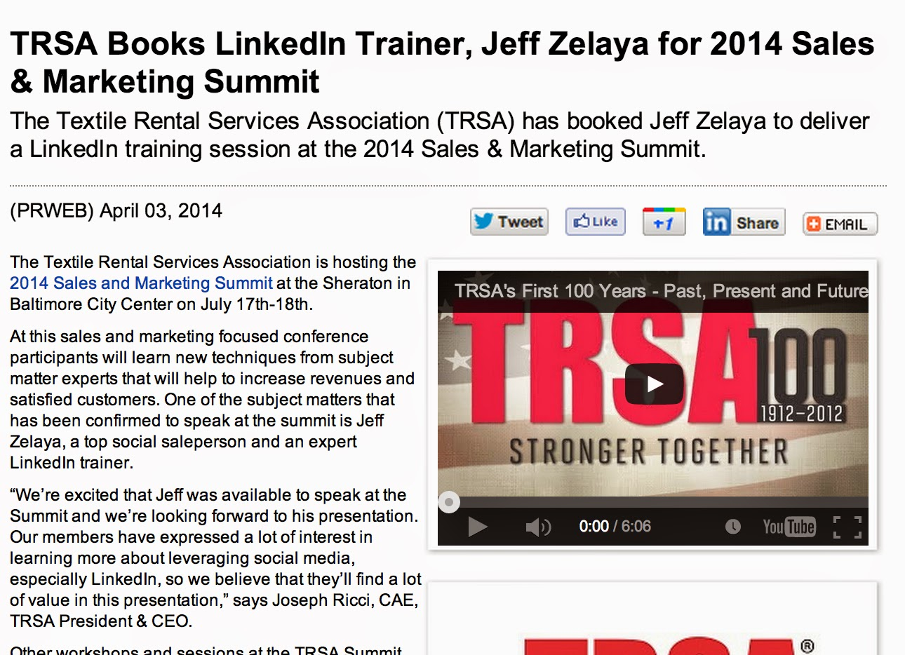 TRSA Books LinkedIn Trainer