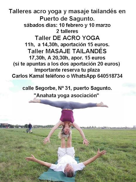 """talleres acro yoga y masaje taliandedes, en Puerto de Sagunto """"Anahata"""""""