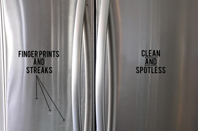 Image of a fridge where olive oil was applied as a natural cleaner for stainless steel.