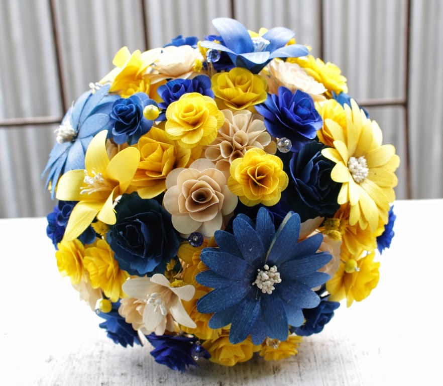 Royal Blue and Yellow Wedding: Bouquets Made of Wooden Flowers ...