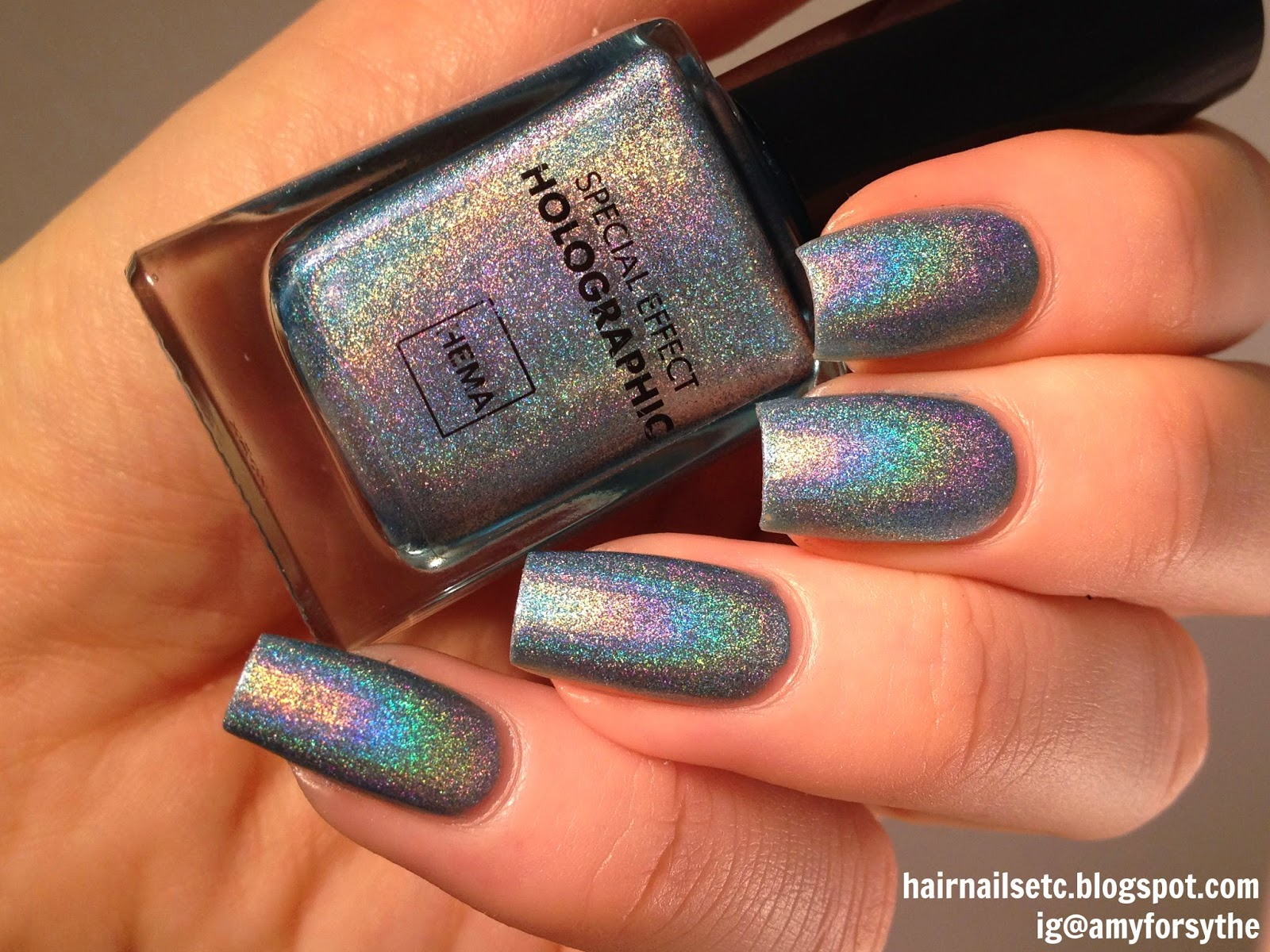 Hema, special effect, holographic nail polish, 52, holographic copper, gold, swatch, review