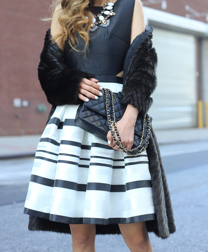 chicwish stripe fit flare dress, ted baker faux fur coat, christian louboutin heels, chanel classic flap bag, babublebar necklace, fashion blog, holiday outfit, holiday dresses, fit flare dresses, new york fashion blog