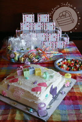 rainbow baby shower favors and cake
