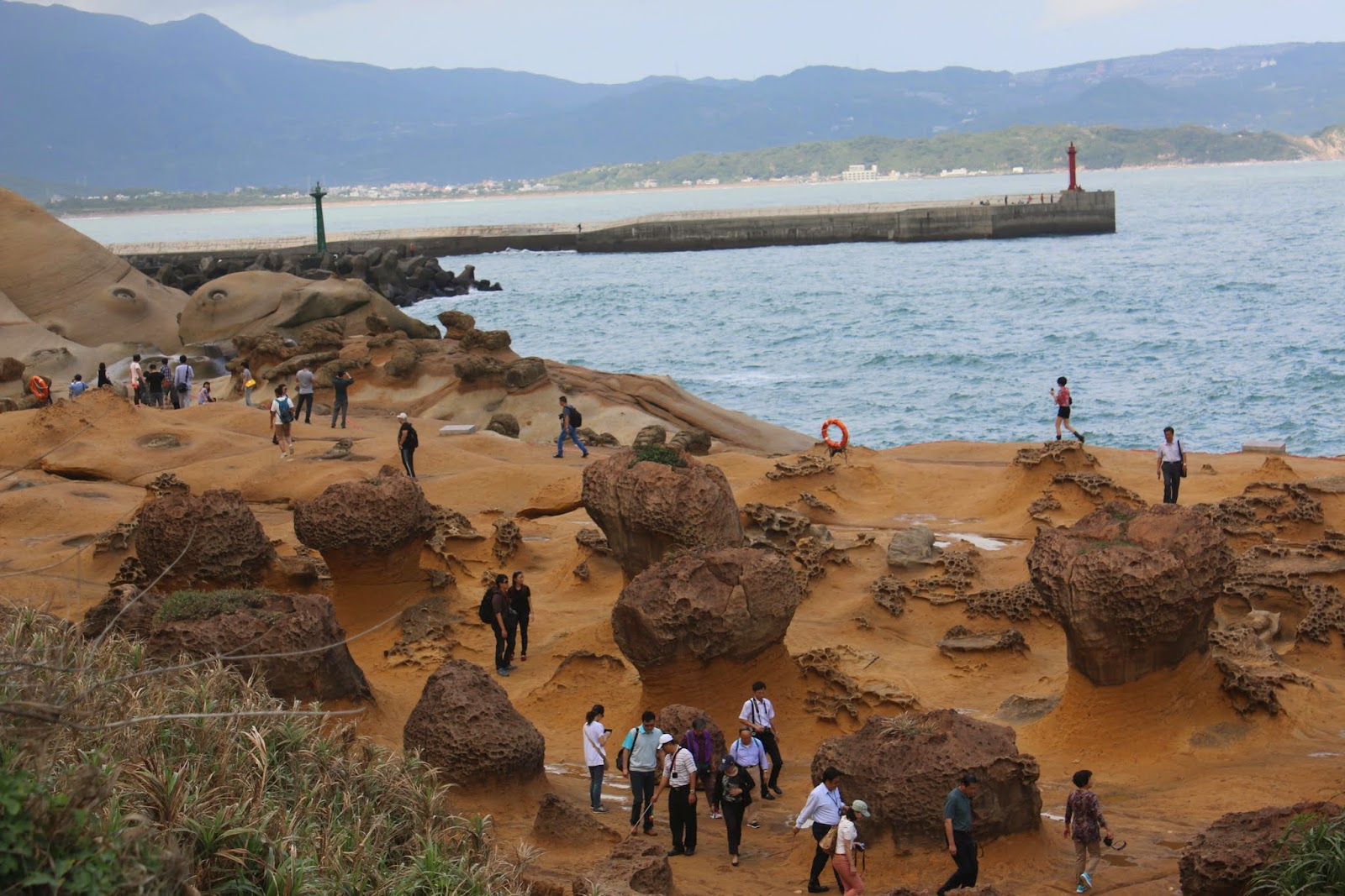 The Carp Rock is located near the sea water and behind the light houses at Yeh Liu Geopark at Wanli of New Taipei City of Taiwan