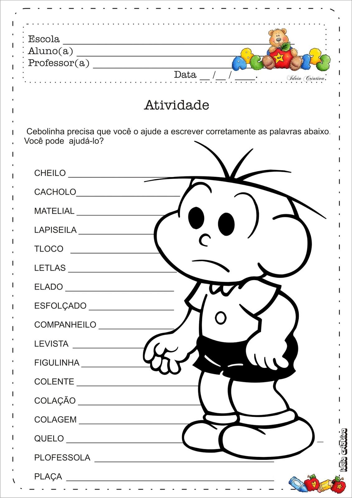 Atividade ortografia corrigindo a escrita das palavras