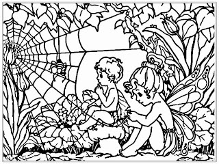 Kids And Spider Adult Coloring Pages