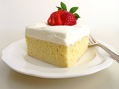 tres leches cake is named for the three milks in the soaking liquid ...
