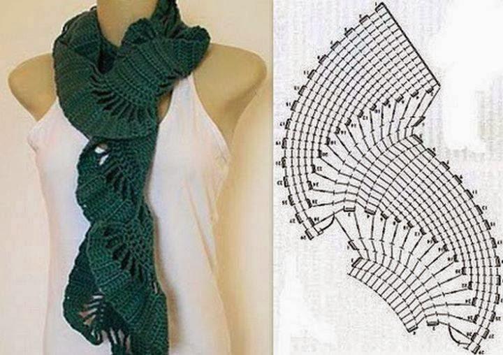 Patron bufanda flores crochet - Imagui