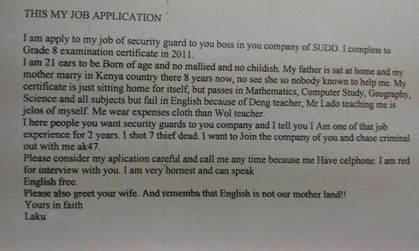 How to write an application letter kenya