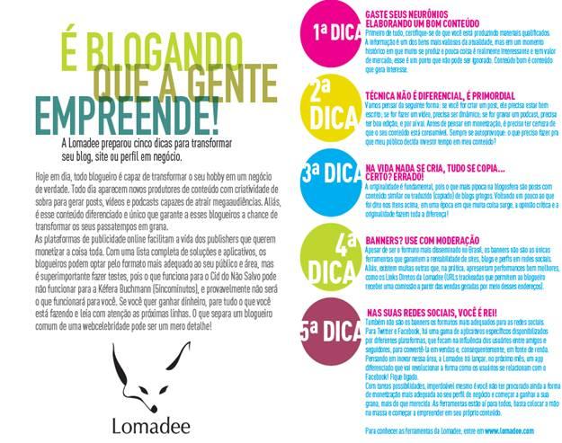 Lomadee apresenta 5 dicas para ganhar dinheiro com conteúdo na web ... 1d3cf2d3d2