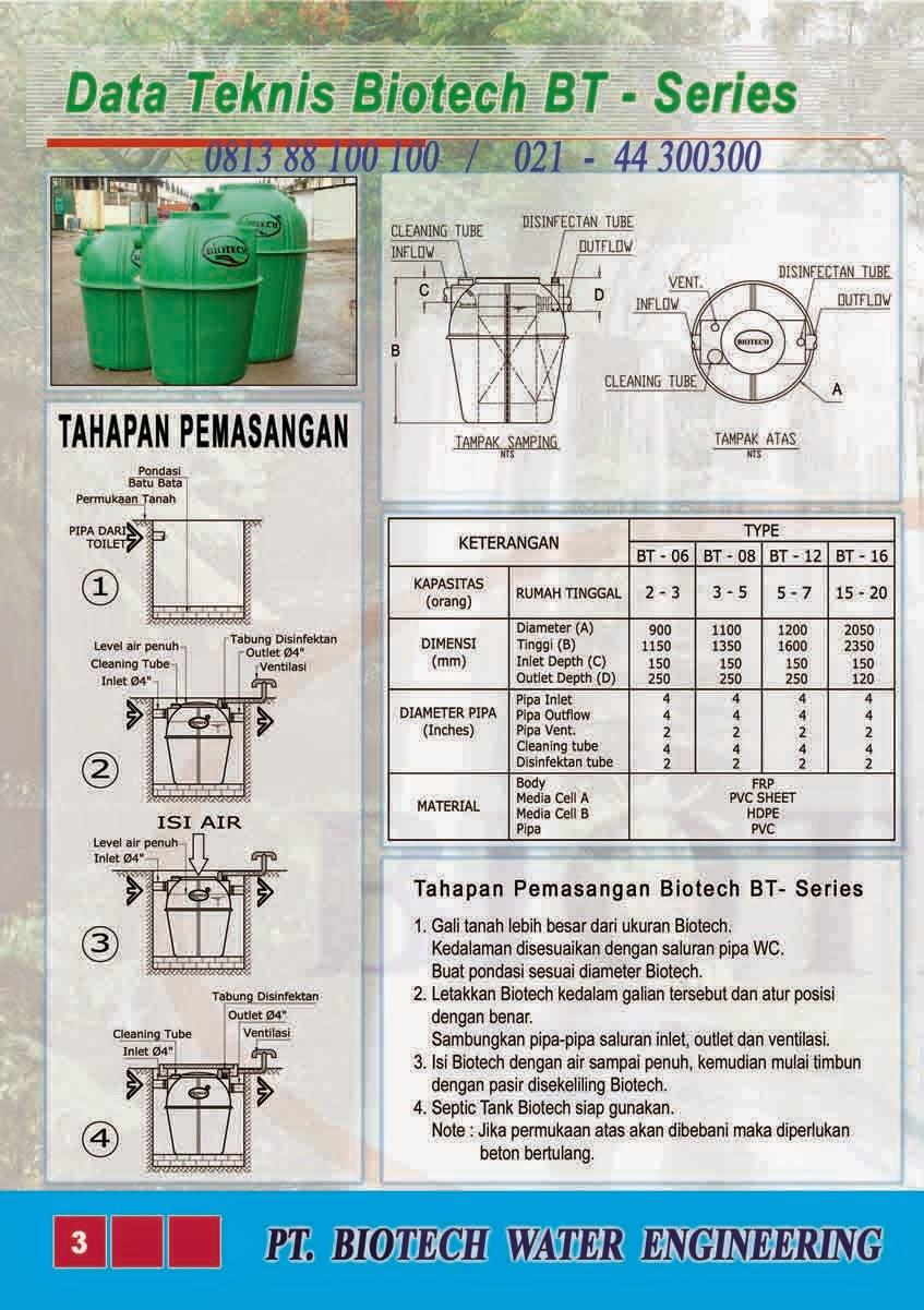 cara pasang septic tank biotech bt series, biofive, biogift, biofil