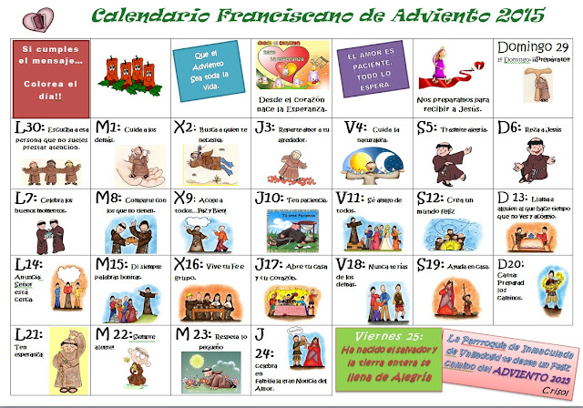Parroquia la inmaculada calendario de adviento for Calendario adviento ninos