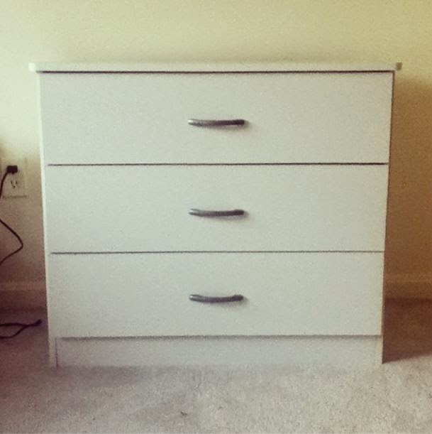 White 3-drawer dresser with silver handle hardware