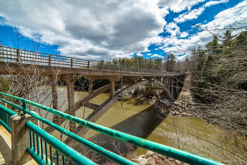Falmouth, Maine USA April 2015 Allen Avenue bridge over Presumpscot River photo by Corey Templeton
