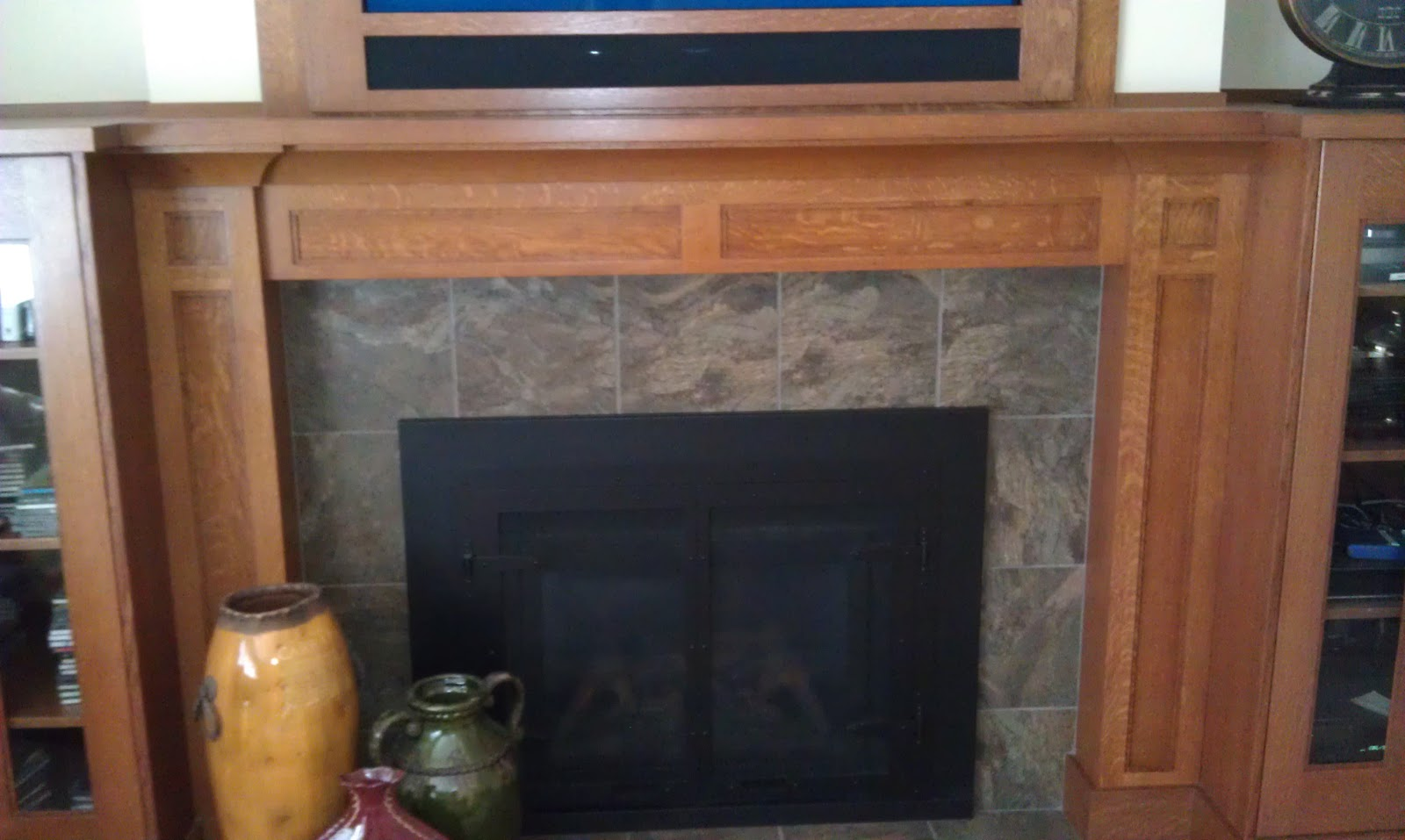 stone ridge cabinets craftsman oak fireplace mantel and