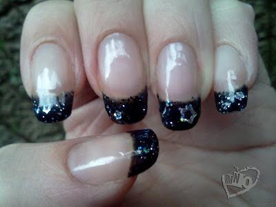 Black French Manicure Glitter UV GEL LED Nail
