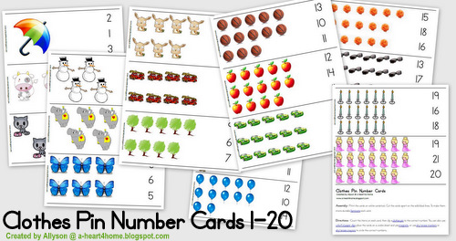 free clothes pin number cards 1 20 free clothes pin number cards 1 20 ...