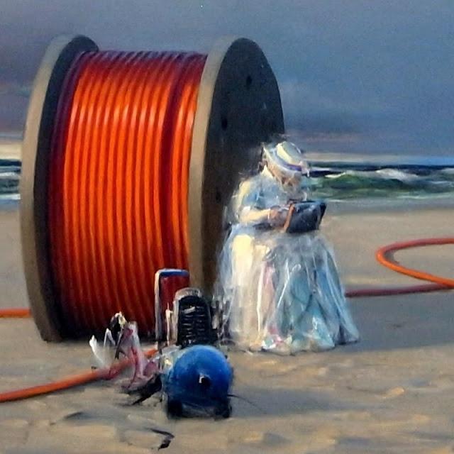 Detalje-udsnit fra Poul Anker Bech: Efterårsmail fra en kabeltromle.