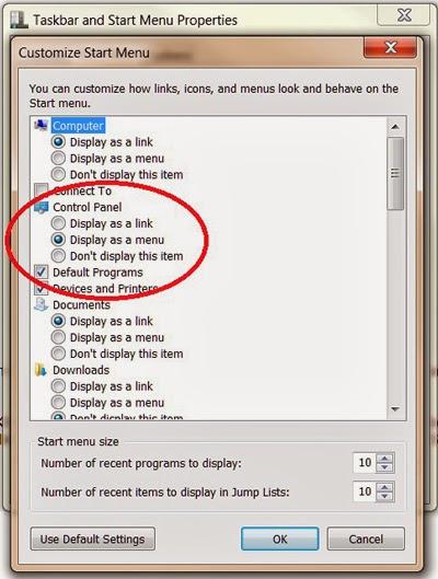 how to put control panel on start menu