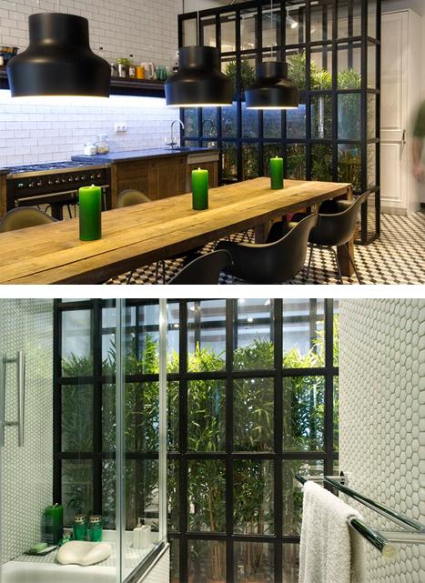 paredes de vidrio, patio, vegetación en casa, tabique de vidrio, cristal