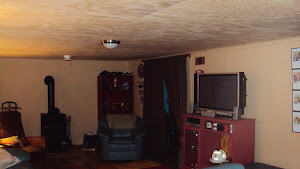 The new ceiling in the TV room
