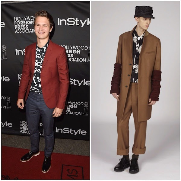 Ansel Elgort wears Marni Fall Winter 2014 floral shirt at 2014 Toronto International Film Festival