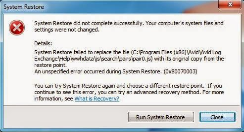 restore failed