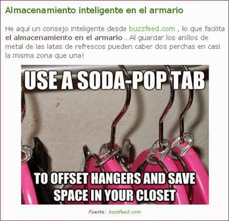 Ampliar espacio en el armario con anillas de latas de refresco