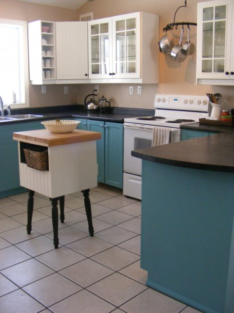 Dark teal kitchen cabinets for Teal kitchen cabinets